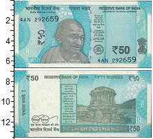 Изображение Банкноты Индия 50 рупий 2017  UNC Махатма Ганди.На обо