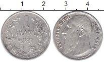 Изображение Монеты Бельгия 1 франк 1909 Серебро XF-