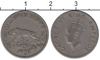 Изображение Монеты Индия 1/4 рупии 1946 Медно-никель VF