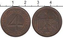 Изображение Монеты Веймарская республика 4 пфеннига 1932 Бронза XF А
