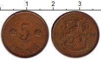 Изображение Монеты Финляндия 5 пенни 1938 Медь XF