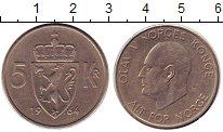 Изображение Монеты Норвегия 5 крон 1964 Медно-никель XF Улаф V