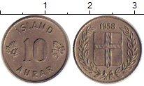 Изображение Монеты Исландия 10 аурар 1958 Медно-никель XF Герб