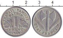 Изображение Монеты Франция 1 франк 1942 Алюминий XF