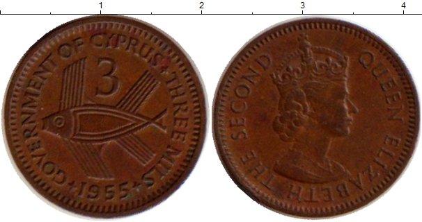 Картинка Монеты Кипр 3 милса Медь 1955