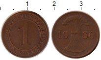 Изображение Монеты Веймарская республика 1 пфенниг 1936 Медь XF Сноп колосьев