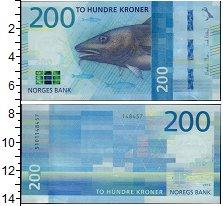 Изображение Банкноты Норвегия 200 крон 2016  UNC Рыба