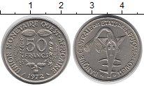 Изображение Монеты Центральная Африка 50 франков 1972 Медно-никель XF Золотая гиря ашанти