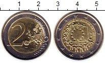 Изображение Монеты Эстония 2 евро 2015 Биметалл UNC- 30 лет флагу Евросою