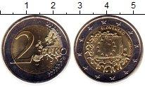 Изображение Монеты Словакия 2 евро 2015 Биметалл UNC- 30 лет флагу Евросою