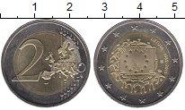 Изображение Монеты Литва 2 евро 2015 Биметалл UNC- 30 лет флагу Евросою