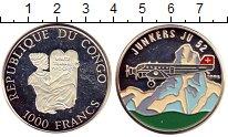 Изображение Монеты Конго 1.000 франков 1995 Серебро Proof- Самолет