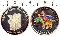 Изображение Монеты Конго 1.000 франков 1996 Серебро Proof- Жираф