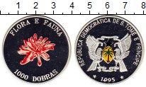 Изображение Монеты Сан-Томе и Принсипи 1.000 добрас 1995 Серебро Proof- Цветок