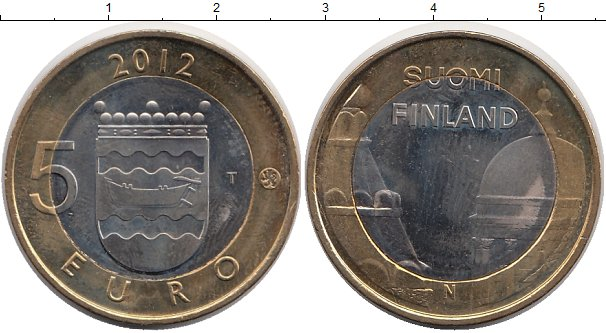 Картинка Монеты Финляндия 5 евро Биметалл 2012