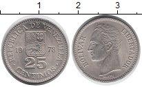 Изображение Мелочь Венесуэла 25 сентим 1978 Медно-никель XF Симон Боливар.