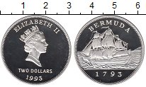 Изображение Монеты Бермудские острова 2 доллара 1993 Серебро Proof- Елизавета II.  200