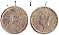 Изображение Монеты Малайя 10 центов 1943 Серебро XF+ Георг VI