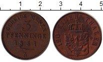 Изображение Монеты Германия Пруссия 3 пфеннига 1851 Медь XF