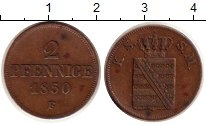 Изображение Монеты Германия Саксония 2 пфеннига 1850 Медь XF
