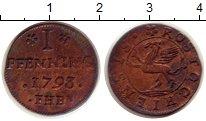 Изображение Монеты Германия Росток 1 пфенниг 1793 Медь XF-