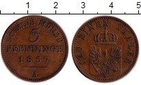 Монета Пруссия 3 пфеннига Медь 1867 XF фото