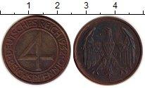 Изображение Монеты Веймарская республика 4 пфеннига 1932 Бронза XF