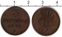 Изображение Монеты Мекленбург-Шверин 3 пфеннига 1853 Медь XF-