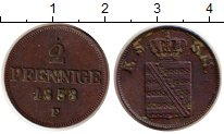 Изображение Монеты Саксония 2 пфеннига 1853 Медь XF Фридрих Август II