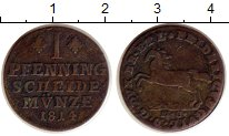 Изображение Монеты Брауншвайг-Вольфенбюттель 1 пфенниг 1814 Медь VF Фридрих Вильгельм