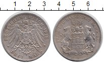Изображение Монеты Гамбург 3 марки 1913 Серебро XF