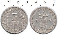 Изображение Монеты Веймарская республика 3 марки 1925 Серебро XF А. 1000-летие Рейнла