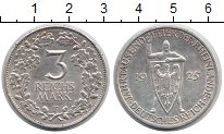 Изображение Монеты Веймарская республика 3 марки 1925 Серебро XF F. 1000-летие Рейнла