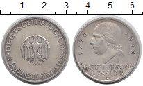 Изображение Монеты Веймарская республика 3 марки 1929 Серебро XF F   Лессинг