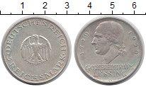 Изображение Монеты Веймарская республика 3 марки 1929 Серебро XF A   Лессинг