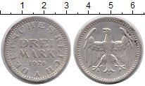 Изображение Монеты Веймарская республика 3 марки 1924 Серебро XF А