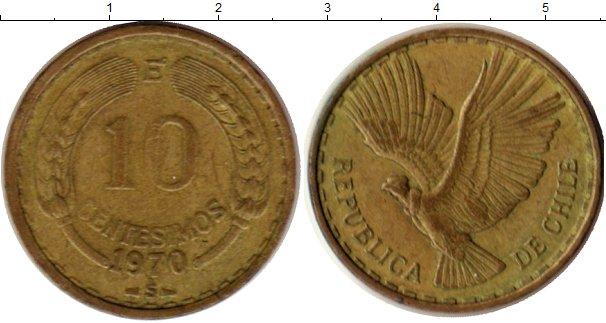 Картинка Монеты Чили 10 сентаво Латунь 1970