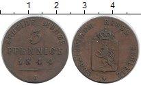 Изображение Монеты Германия Рейсс-Шляйц 3 пфеннига 1844 Медь XF