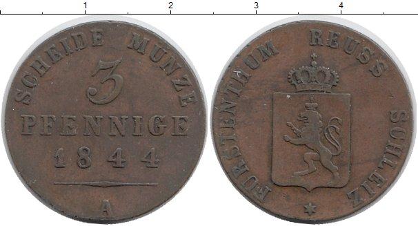 Картинка Монеты Рейсс-Шляйц 3 пфеннига Медь 1844