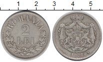 Изображение Монеты Румыния 2 лей 1872 Серебро XF