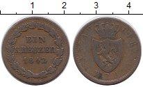 Изображение Монеты Германия Нассау 1 крейцер 1842 Медь XF-