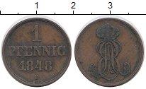 Изображение Монеты Германия Ганновер 1 пфенниг 1848 Медь XF
