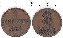 Изображение Монеты Германия Ганновер 1 пфенниг 1849 Медь XF