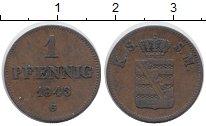 Изображение Монеты Германия Саксония 1 пфенниг 1843 Медь XF