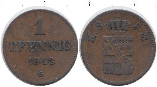 Картинка Монеты Саксония 1 пфенниг Медь 1843