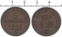 Изображение Монеты Германия Пруссия 3 пфеннига 1867 Медь XF