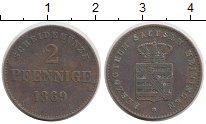 Изображение Монеты Германия Саксе-Мейнинген 2 пфеннига 1869 Медь XF