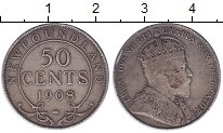 Изображение Монеты Ньюфаундленд 50 центов 1908 Серебро VF