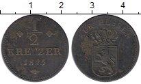 Изображение Монеты Германия Гессен-Кассель 1/2 крейцера 1825 Медь XF-