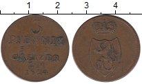Изображение Монеты Германия Рейсс-Оберграйц 3 пфеннига 1824 Медь XF-